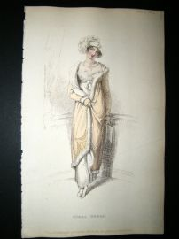 Ackermann 1813 Hand Col Regency Fashion Print. Opera Dress 9-22